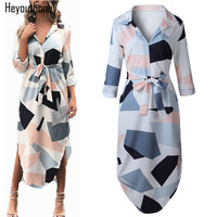 Heyouthoney Elegant Women Autumn Dress V Neck Beach Tunic Long Dresses Geometric Color Block Print Sexy