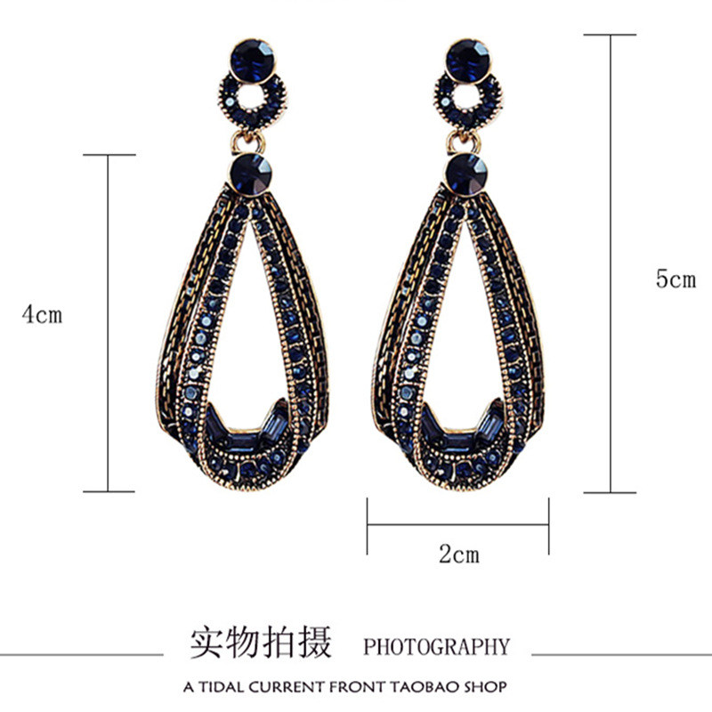 HTB1upfLorZnBKNjSZFGq6zt3FXav - LUBOV Exaggerated Blue Crystal Lace Golden Metal Chain Dangle Earrings Women Personality Statement Drop Earrings Christmas Gift