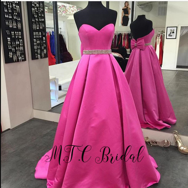 Hot Pink Long Formal   Evening     Dress   Glitter Crystals Sash A Line Sweetheart 2019 Newest Prom Gowns With Bow Vestido De Festa