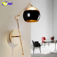 FUMAT Glass Lampsahde Wall Lamps Modern Pea Wall Sconces Bedroom Lamp Rotatable Lampshade Mirror Light Fixture for Living Room