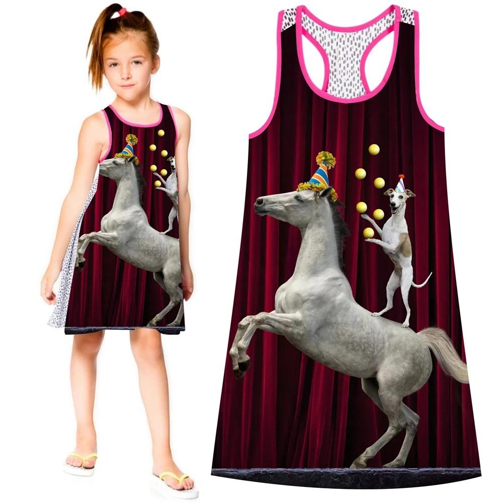 Sommer stil große marke Druck Kinder Designer baby Kinder Kleidung Mode Der  zirkus kleid Mädchen kleid schönes Mädchen Kleider