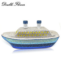 Двойной цветок 3D корабль Форма известный бренд Для женщин Кристалл Вечер сцепления Minaudiere Сумки жесткий металлический корпус Свадебная веч