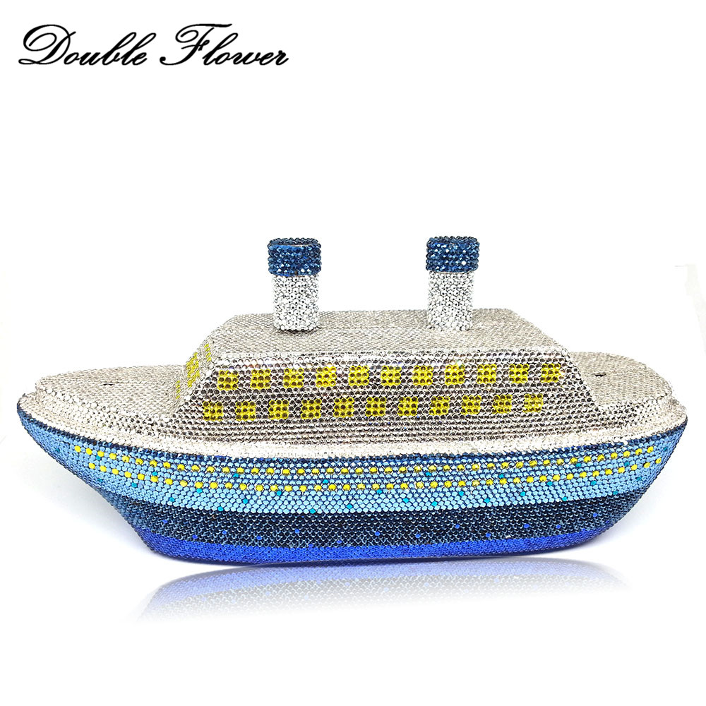 Double Flower 3D Ship Shape Famous Brand Women Crystal Evening Clutch Minaudiere Handbags Hard Case Metal Wedding Party Boat BagDouble Flower 3D Ship Shape Famous Brand Women Crystal Evening Clutch Minaudiere Handbags Hard Case Metal Wedding Party Boat Bag