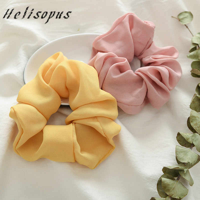 Helisopus New Women Solid Color Elastic Hair Bands Korean Sweet Simple 6 Colors Sports Dance Scrunchie Girls Hair Accessories