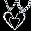 Племенной волк кулон ожерелье, пары ювелирные изделия, ручной работы любовь в форме сердца колареш, Corrente де прата ручной вырезать монета ожерелье