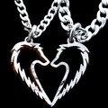 Lobo Tribal colar pingente, Casais jóias, Artesanais coração colares, Moeda Corrente de mão de Prata