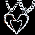 Lobo Tribal collar colgante declaración, parejas joyería, hechos a mano del amor del corazón colares, Corrente de Prata cortado a mano collar de monedas
