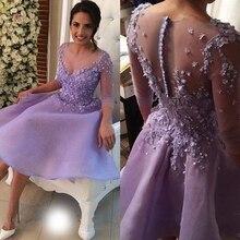 2017 lavendel Short Prom Kleid mit Tasten Drei Viertel Ärmel Organza Party Vestido de Noche Vestidos gala abendkleider