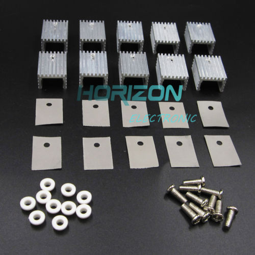 10pcs Aluminum Heatsink Heat Sink With Screw Sets Kits for TO-220 Transistors free shipping mje15033g mje15033 to 220 original 10pcs lot ic 8 0 amperes power transistors