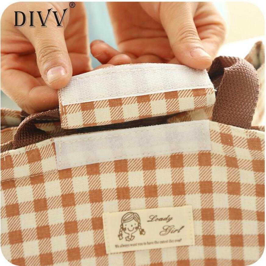 b820344f35d6 DIVV Insulation Package Portable Waterproof Canvas Lunch Bags Lunch With  Rice Levert Dropship storage boxes blankets L723