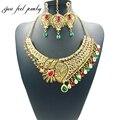 2017 de lujo de la india kundan choker collar de oro de joyería nupcial único para las mujeres cristal cz collar pendientes headress