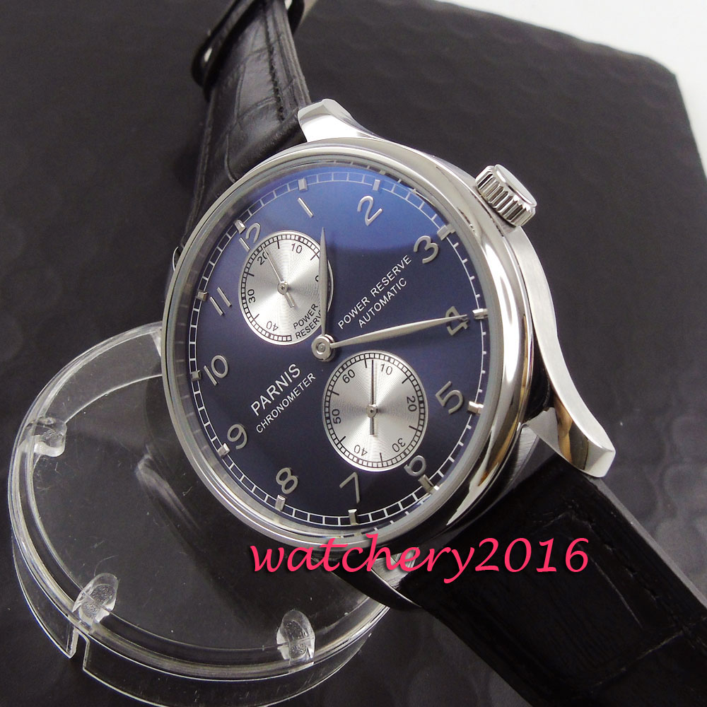 43mm Parnis blue dial silver markers power reserve wrist watches with date for men Automatic movement Men's business Watch casual 43mm parnis automatic power reserve white dial blue numbers silver watch case business watch men