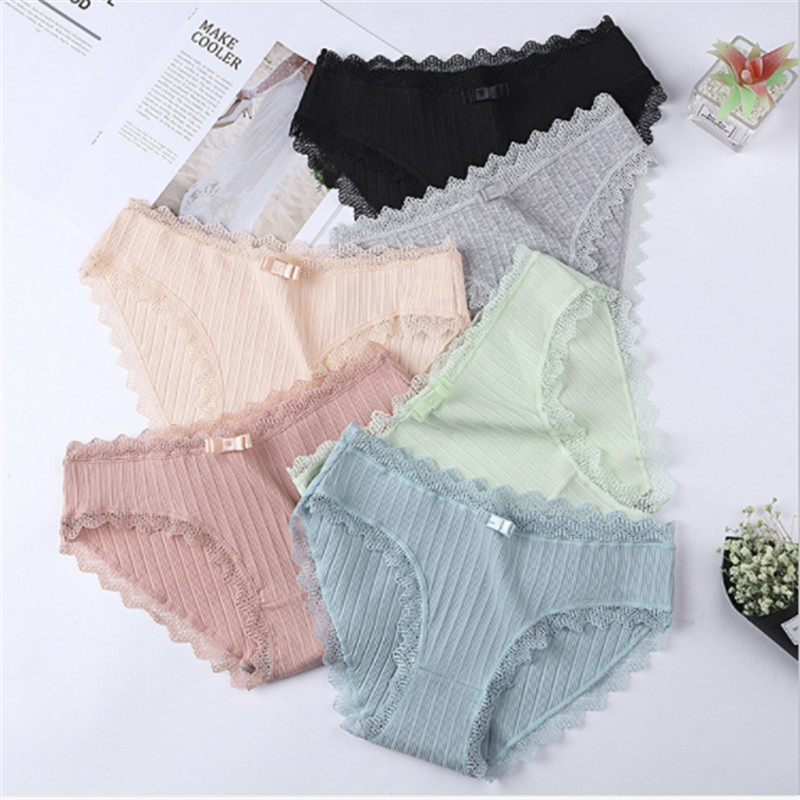 #MS627 LeafMeiry New Arrival Kawaii Cute Women Underwear Cotton   Panties   With Lace Lingerie for Girls