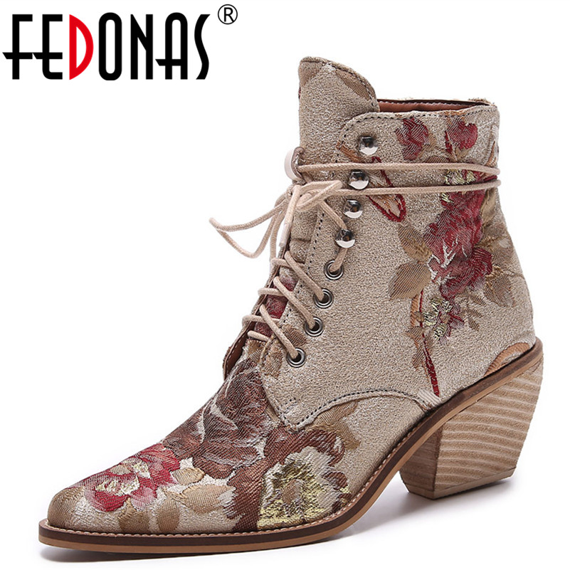FEDONAS النساء الفاخرة الحرير أحذية السيدات حذاء من الجلد جديد الخريف الشتاء طرز إمرأة دراجة نارية أحذية أحذية الدانتيل امرأة-في أحذية الكاحل من أحذية على  مجموعة 1