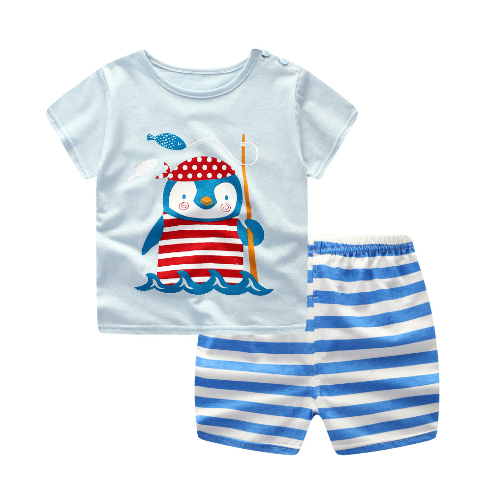 Summer Children's Clothing Sets Baby Boys Girls Clothes Set penguin Sport Suits Teenager Shirt + shorts 2pcs March -3 years old
