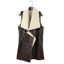 GZDL Fashion Fall Winter Clothing Women Lapel Faux Leather Fleece Coat Vest Long Cardigan Outerwear Tops Veste Femme jacket 2147