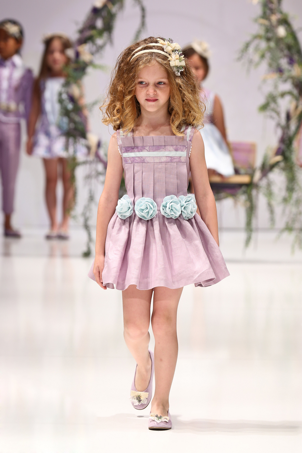 New Novelty Pleated Girl Dress Light Purple 3D Flower Girls Dresses for wedding Party child Wedding dresses vestidos