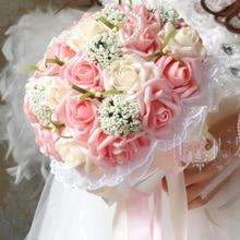 Piękny fioletowy bukiet ślubny Handmade kwiat ślubny bukiety ślubne sztuczne perły kwiat róży bukiet