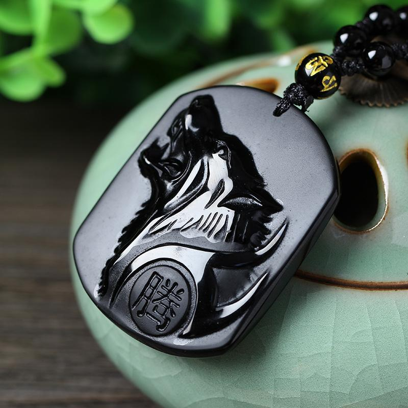 Black Obsidian Carving Wolf Head Obdidian Amulet pendant Jade Pendant necklace obsidian Blessing Lucky pendant Jade Jewelry