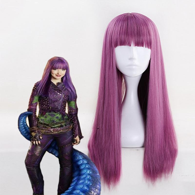 Descendants 2 Cosplay Wigs Mal Cosplay Wigs Heat Resistant Synthetic Halloween Party Women Wig
