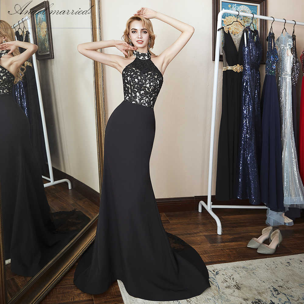 f2b330273c24 Angel married simple Evening Dresses halter slim mermaid prom gowns black  lace women formal party dress