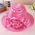 Playa sombreros de sun del Casquillo de las mujeres 2017 Del Verano Del Organza flores Hollow fuera Plegable Floppy Sun Sombreros Retro Ladies Retro bowknot sombrero niñas