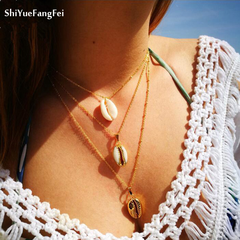 Vintage Fashion Gold Colour Alloy Conch Shell Necklace For Women shape Pendant Simple Seashell Ocean Beach Boho Bohemian Jewelry