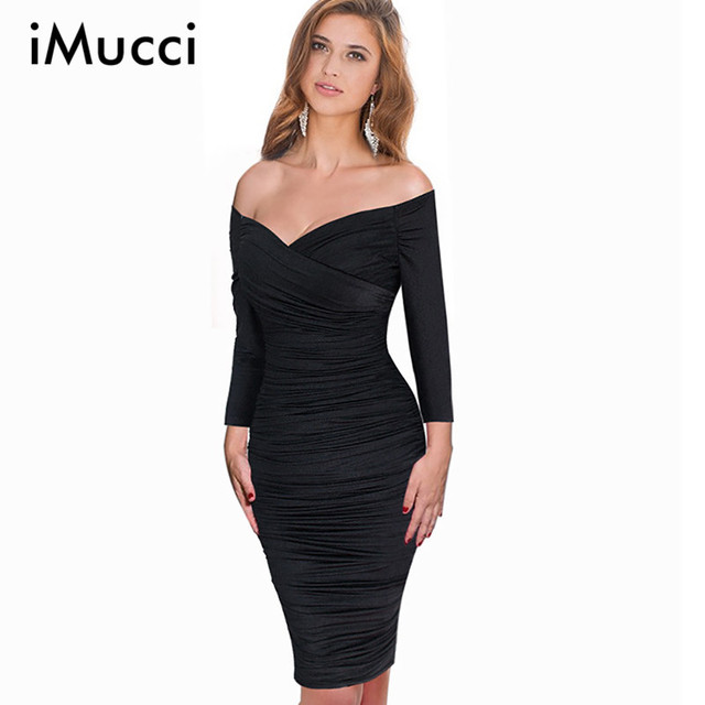 5c4d45fac01d Off Shoulder V-Neck Sexy Dress Summer New Fashion Three Quarter Sleeve  Black Tight Dresses for Women Hot Sale Vestidos De Fiesta