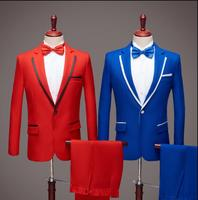 Chorus red Blazer men groom suit set with pants mens wedding suits costume singer star style dance stage clothing formal dress