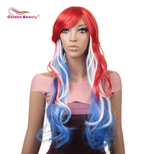 18inch Wavy Curly Cosplay Wig Women Wig Long Hair Heat Resistant Synthetic Wig Red to blue ,Ombre Grey to Pink Golden Beauty women s ladylike long side bang curly cosplay wig
