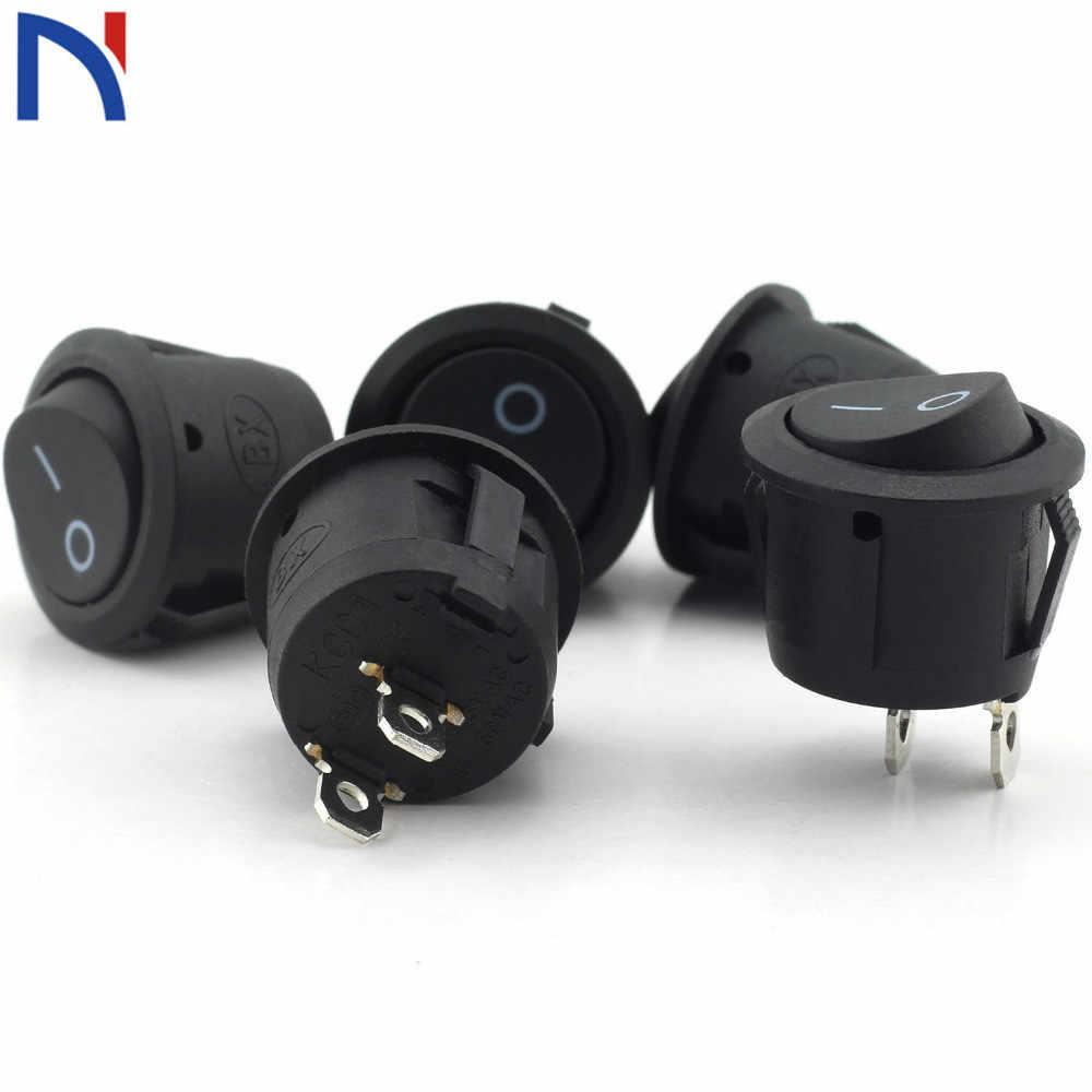 5/10 pièces petit rond noir 2 broches 2 fichiers 3A/250 V 6A/125 V interrupteur à bascule balançoire interrupteur rond interrupteur 16*10mm