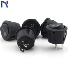 Rocker-Switch Small 16--10mm-Switch Black 2-Pin Seesaw Round 2-Files 3A/250V 6A/125V