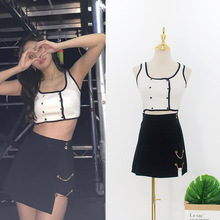 kpop BLACKPINK JENNIE 2020 new summer loose sexy two piece skirt and top