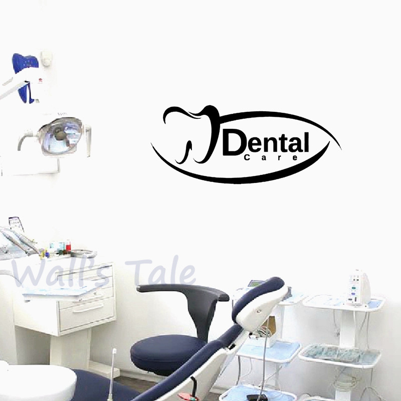 Creative Design Dental Sign Vinyl Wall Stickers Dentist Clinic Door Window Decor Dental Care Wall Decals Mural Art Decoration