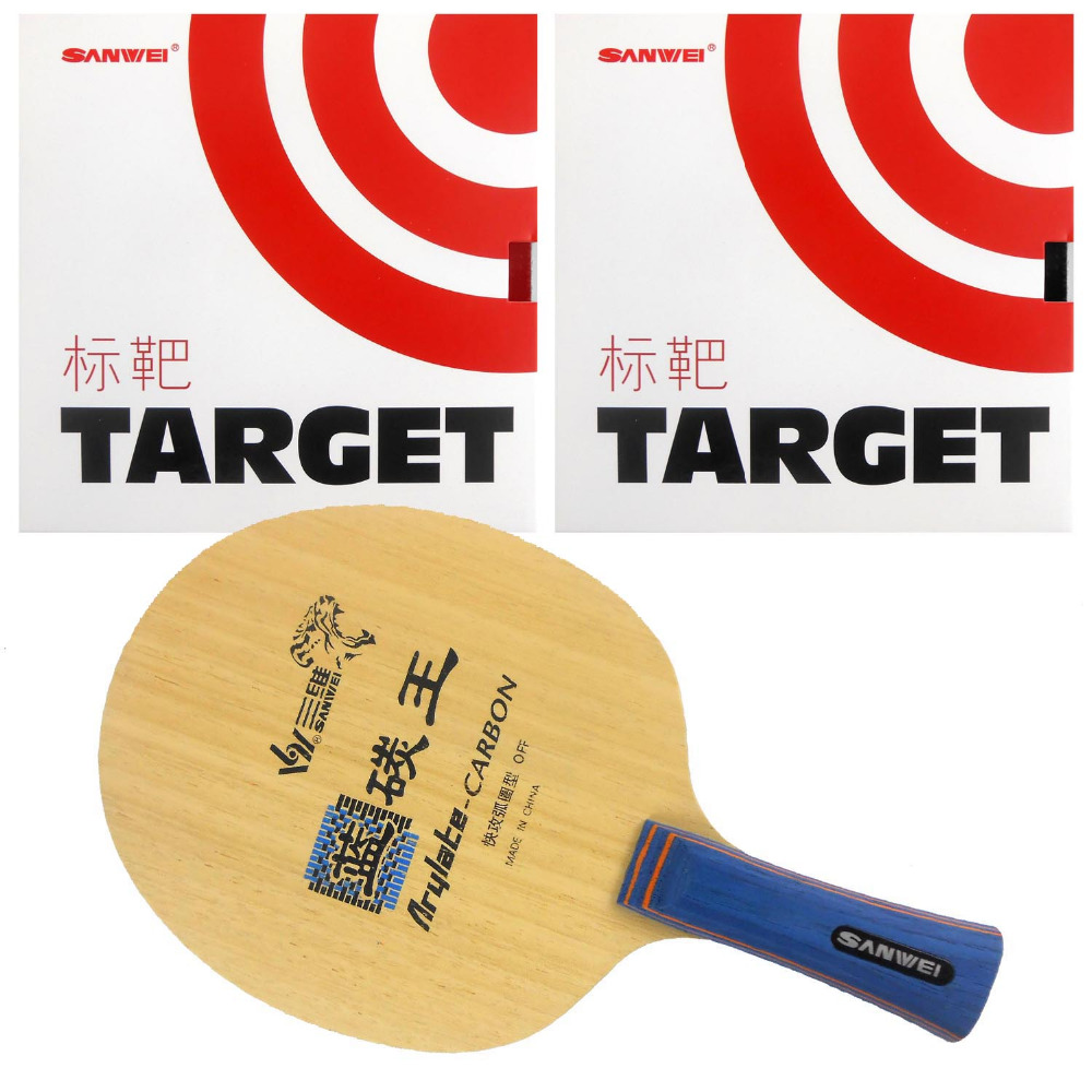 Pro Table Tennis Combo Paddle Racket Sanwei F3 with 2 Pcs Target Shakehand long handle FL ...