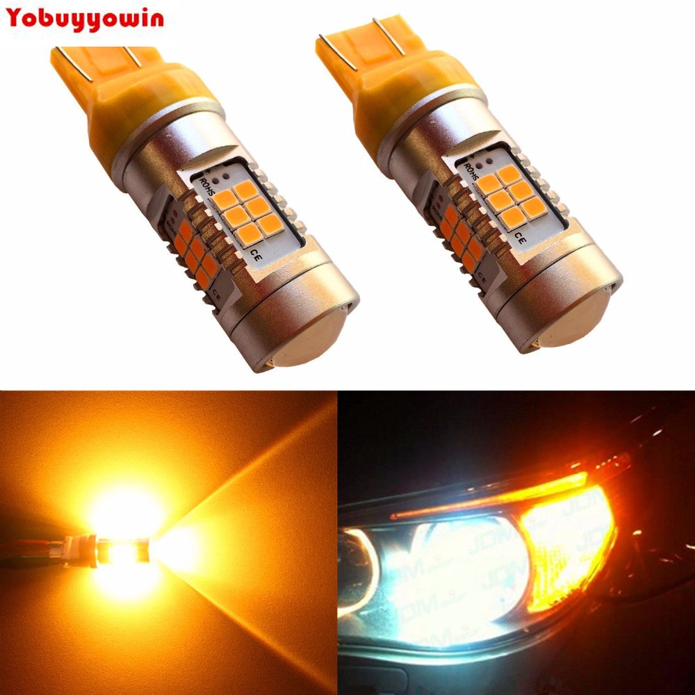Amber Yellow 7443 7440 7444NA T20 High Power 3035 27-SMD Super Extremely Bright LED Lights Bulbs for Turn Signal Brake Tail Back