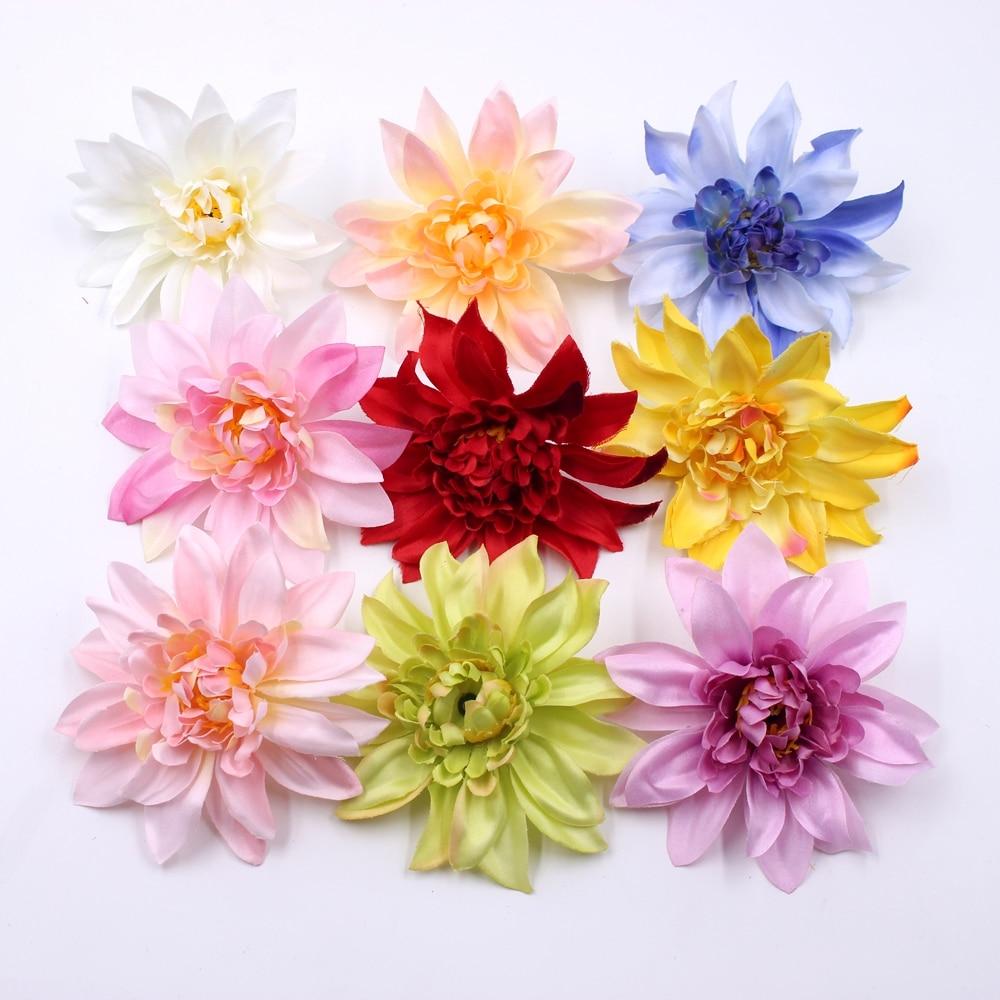 5pcs/lot 10cm Silk Peony Handmade Artificial Flowers For Wedding Home Decoration DIY Floral Craft Scrapbooking Dahlia Flowers