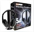 Nova marca Multifuncional 5 em 1 FM Sem Fio fone de Ouvido Fone de Ouvido para MP4 PC TV CD MP3 Preto