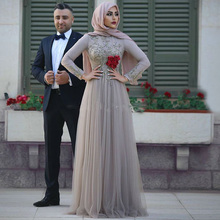 Muslim Chiffon Formal Dress Hijab Lace Long Prom Gowns Full Sleeves 3D Flower Dubai Abaya East Formal Party Dress