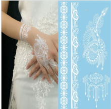 Sexy Body Art Beauty Makeup Cute Cool Beautiful White Henna& Lace Waterproof Temporary Tattoo Stickers For Girl Bride001-009