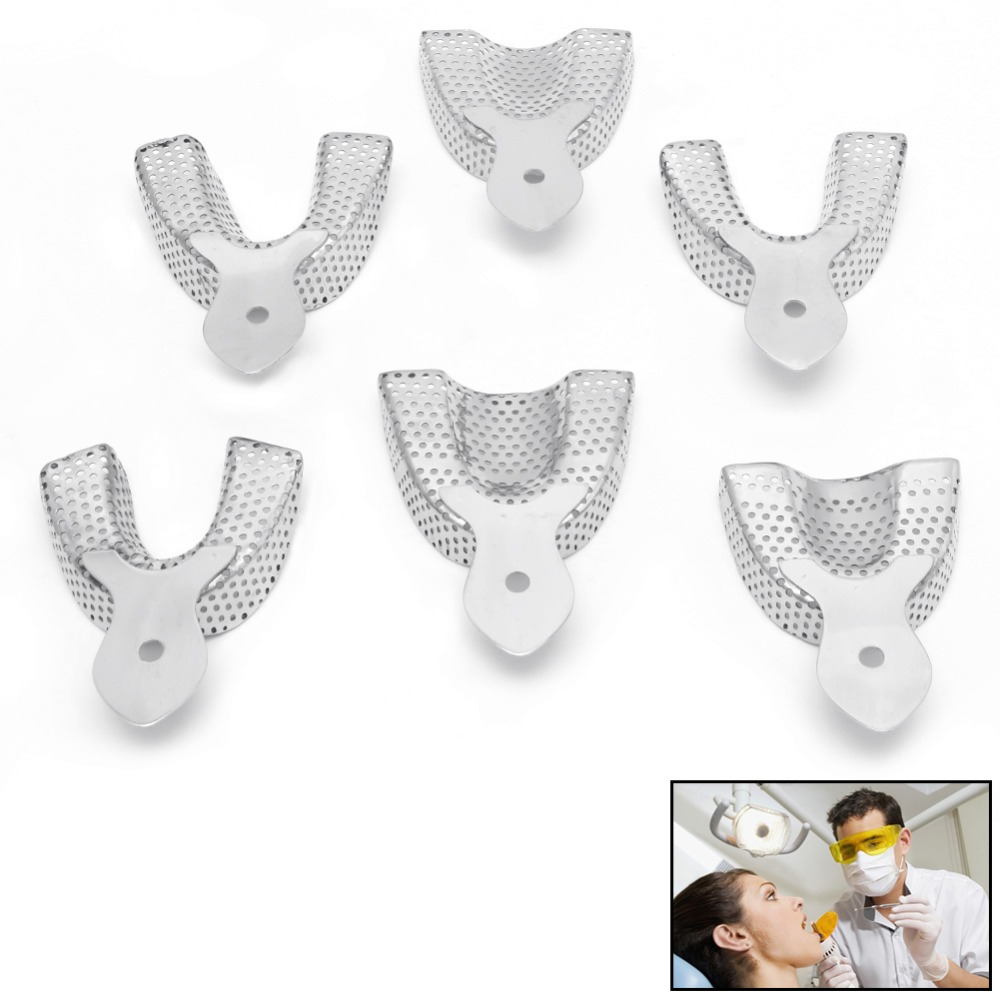 6pcs/Pack Dental Autoclavable Metal Impression Trays Stainless Steel Upper Lower New