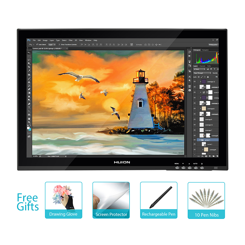 Новый HUION gt-190 19 интерактивный Графика Планшеты Мониторы профессиональная анимация Мониторы ручка Сенсорный экран Панель touch pen Мониторы
