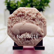 Продукт! 1 шт. китайская свинья зодиака(zx352) Пищевая силиконовая форма для мыла ручной работы DIY