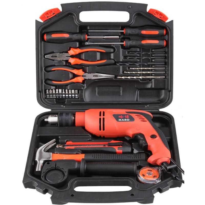 Impact drill multifunction electric Needle-nose pliers screwdriver Toolbox Set Hardware Home improvement tool cross ручка шариковая bailey черная цвет корпуса красный
