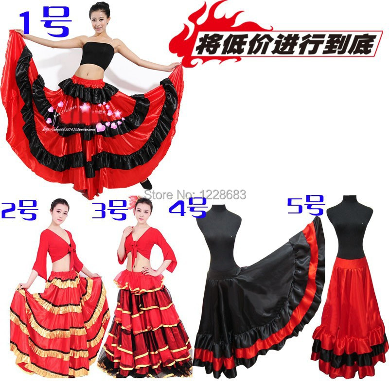 5 Styles Cheap Black Red Plus Size Spain Dancing Disfraz Flamenca Trajes Flamenca Girls Flamenco Dresses