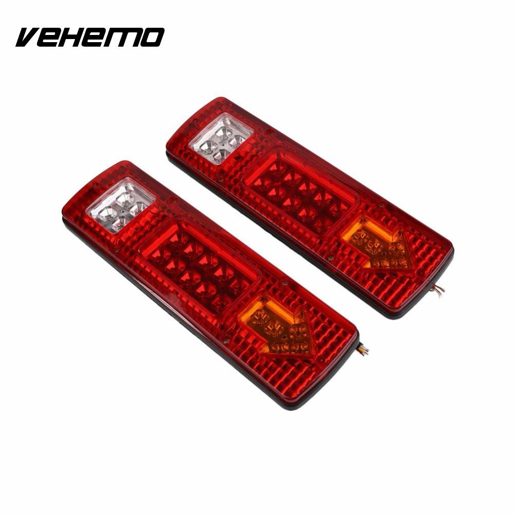 Vehemo 2 Pcs Waterproof LED Car Trailer Rear Tail Light Truck Caravan Turning Signal Stop Indicator 24v 5W vehemo vehemo 10 30v 4 led tail number license plate light lamp truck trailer waterproof