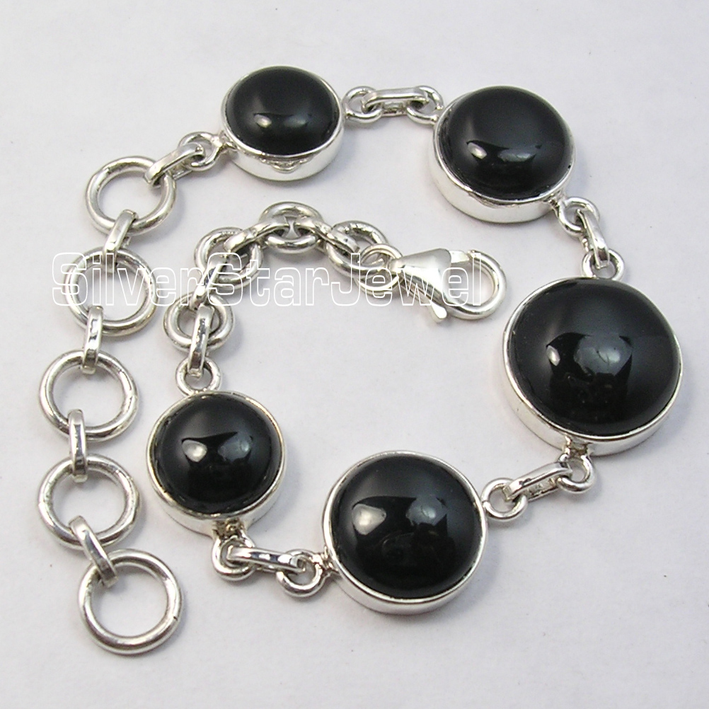 Chanti International Silver CABOCHON ROUND BLACK ONYX HANDMADE Heavy Bracelet 8 Inches xishixiu 11 16 inches