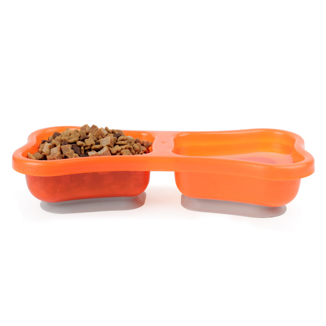 1pc Bone Shaped Pet Dog Bowl Feeder Sucker Bottom Fixed Dog Food Dispenser Container 31*15*6.5cm