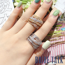 Bridetalk Luxury Cubic zirconia lines rings for women ,Suitable for Bridal party wedding Engagement Free shipping цена