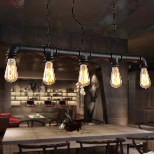 Water Pipe Steampunk Vintage Pendant Lights For Dining Room Bar Rust Red Home Decoration American Industrial